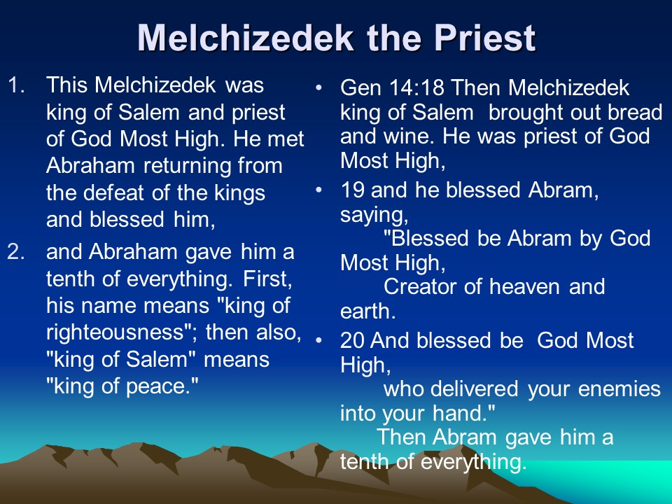 after the order of melchizedek Hebrews 7 5 for every high priest , what further need would there have been for another priest to arise after the order of melchizedek, rather than one named after the order of aaron 12 for when there is a change in the priesthood, there is necessarily a change in the law as well 13 for.