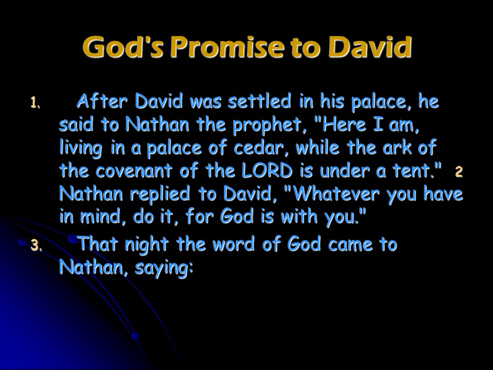 1 Chronicles 17, God's Covenant with David  – Len Bilén's