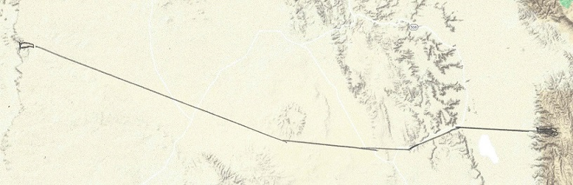 The Transcontinental Aqueduct. Leg 8: Arch Lewis Canyon Reservoir to Martin Tank Lake, a distance of 50miles.